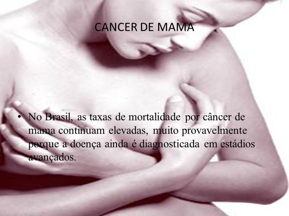 CANCER DE MAMA No Brasil, as taxas de mortalidade por câncer de mama continuam elevadas, muito provavelmente porque a doença ainda é diagnosticada em estádios avançados.
