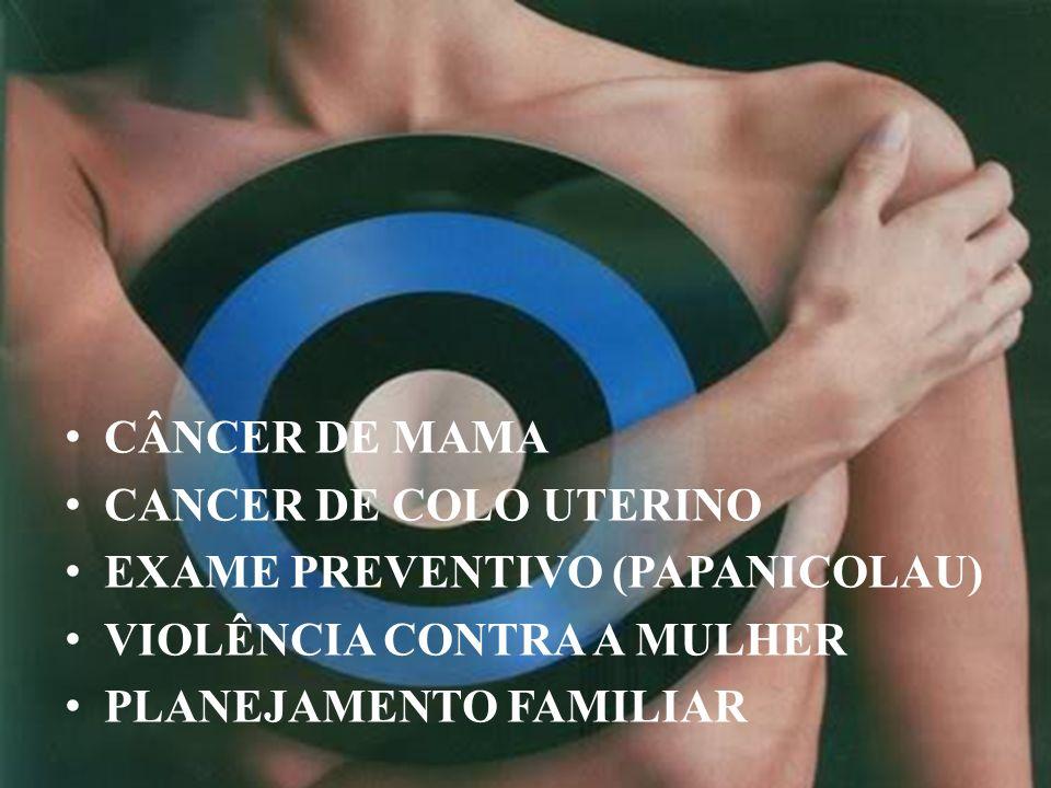 CÂNCER DE MAMA CANCER DE COLO UTERINO EXAME PREVENTIVO (PAPANICOLAU) VIOLÊNCIA CONTRA A MULHER PLANEJAMENTO FAMILIAR