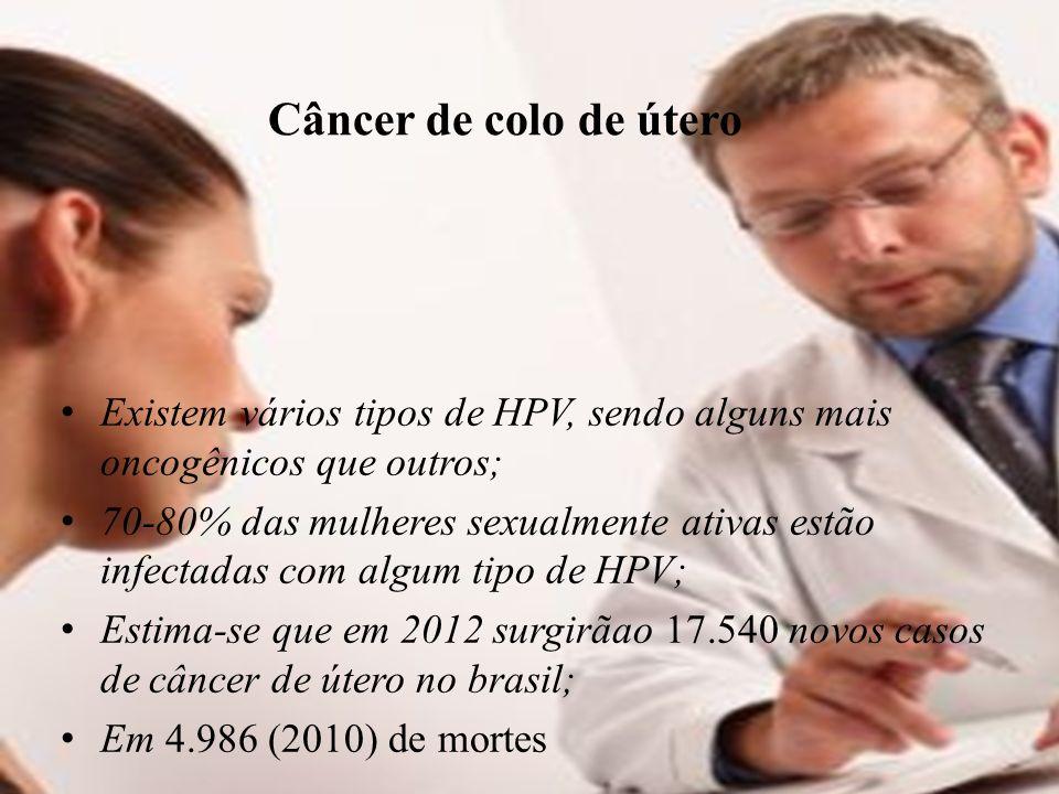 Câncer de colo de útero Existem vários tipos de HPV, sendo alguns mais oncogênicos que outros; 70-80% das mulheres sexualmente ativas estão infectadas com algum tipo de HPV; Estima-se que em 2012 surgirãao 17.540 novos casos de câncer de útero no brasil; Em 4.986 (2010) de mortes