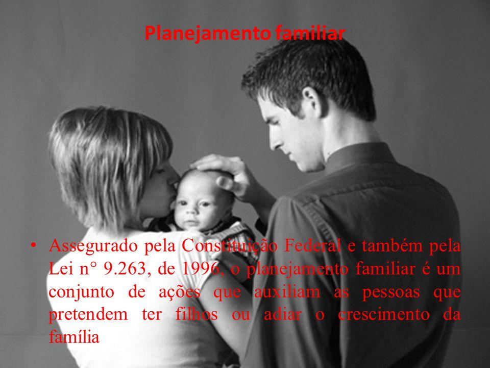 Planejamento familiar Assegurado pela Constituição Federal e também pela Lei n° 9.263, de 1996, o planejamento familiar é um conjunto de ações que auxiliam as pessoas que pretendem ter filhos ou adiar o crescimento da família.