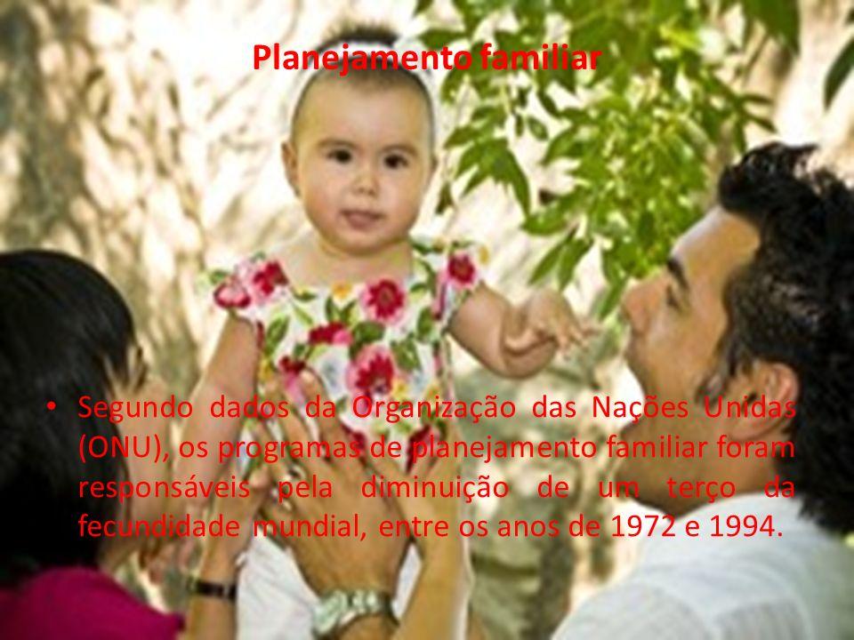 Planejamento familiar Segundo dados da Organização das Nações Unidas (ONU), os programas de planejamento familiar foram responsáveis pela diminuição de um terço da fecundidade mundial, entre os anos de 1972 e 1994.