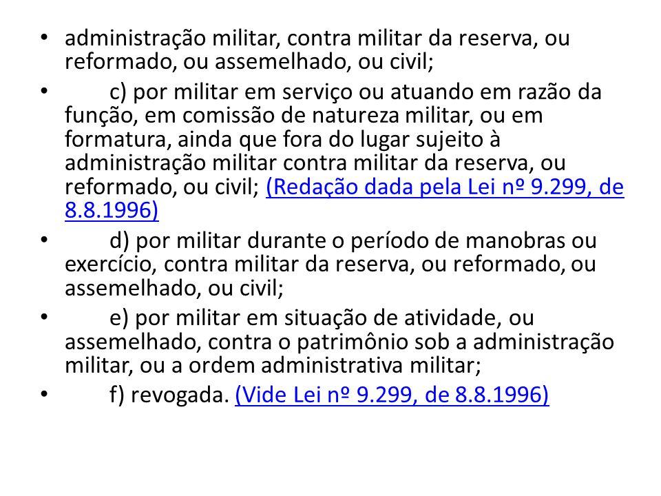administração militar, contra militar da reserva, ou reformado, ou assemelhado, ou civil; c) por militar em serviço ou atuando em razão da função, em