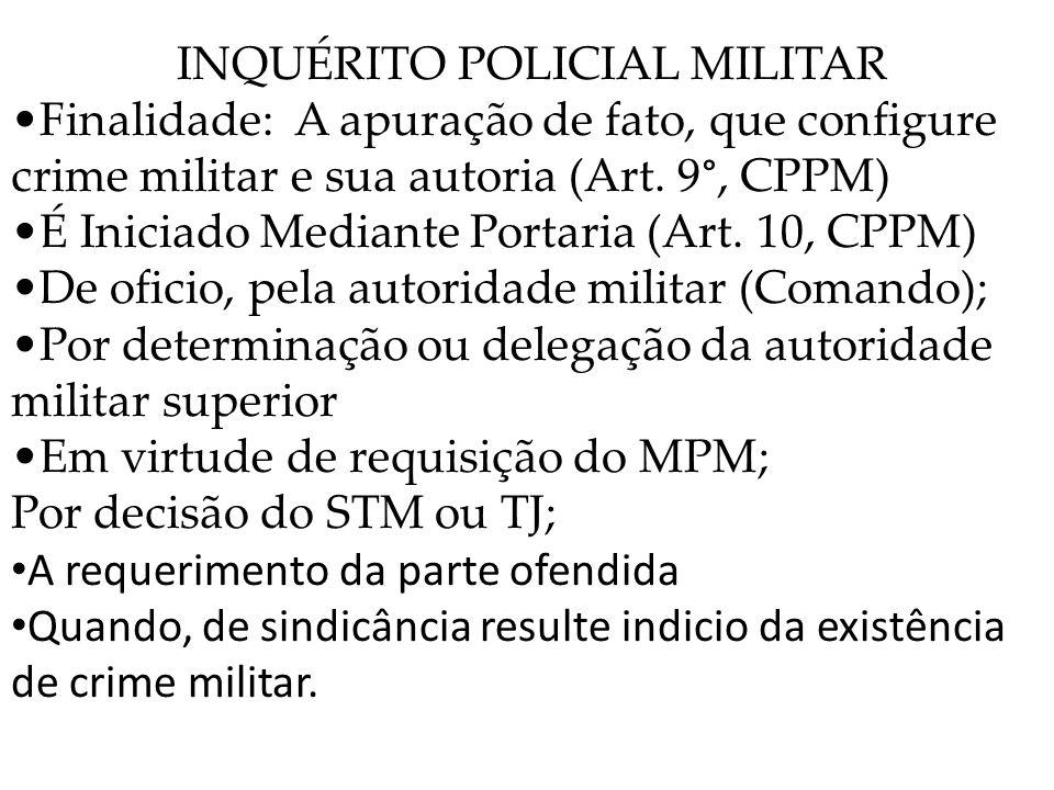 INQUÉRITO POLICIAL MILITAR Finalidade: A apuração de fato, que configure crime militar e sua autoria (Art. 9°, CPPM) É Iniciado Mediante Portaria (Art