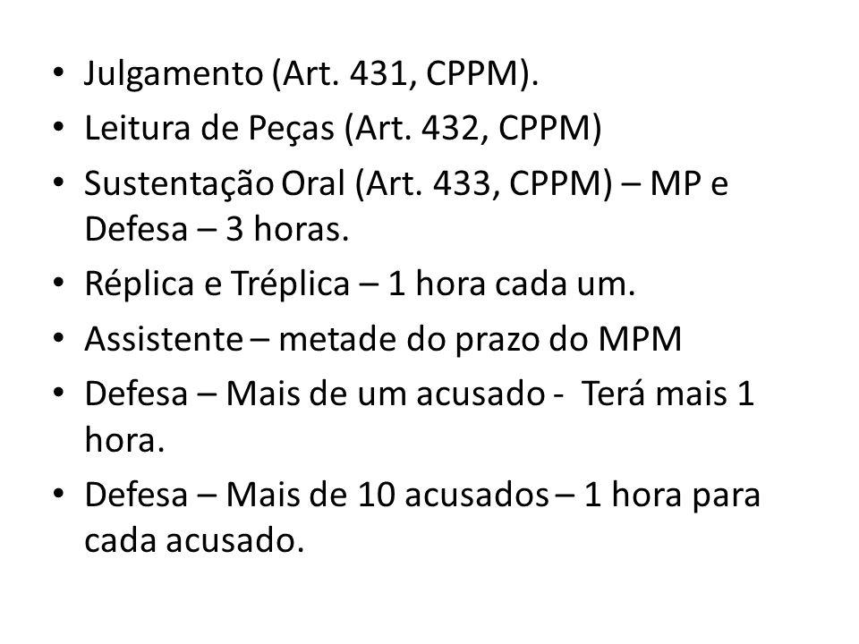 Julgamento (Art. 431, CPPM). Leitura de Peças (Art. 432, CPPM) Sustentação Oral (Art. 433, CPPM) – MP e Defesa – 3 horas. Réplica e Tréplica – 1 hora