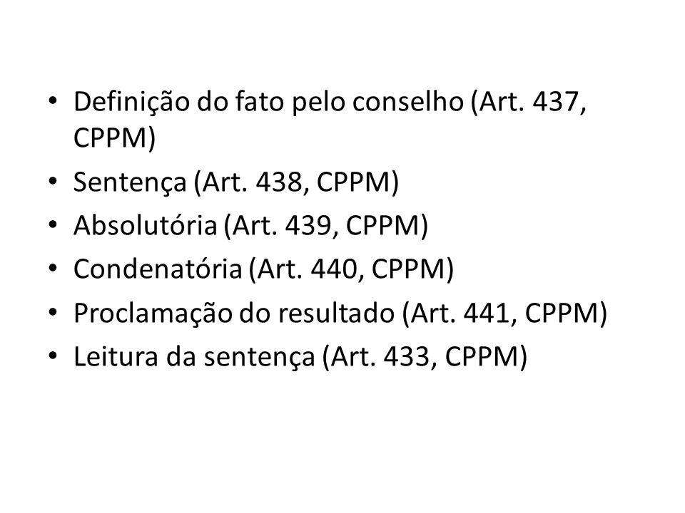 Definição do fato pelo conselho (Art. 437, CPPM) Sentença (Art. 438, CPPM) Absolutória (Art. 439, CPPM) Condenatória (Art. 440, CPPM) Proclamação do r