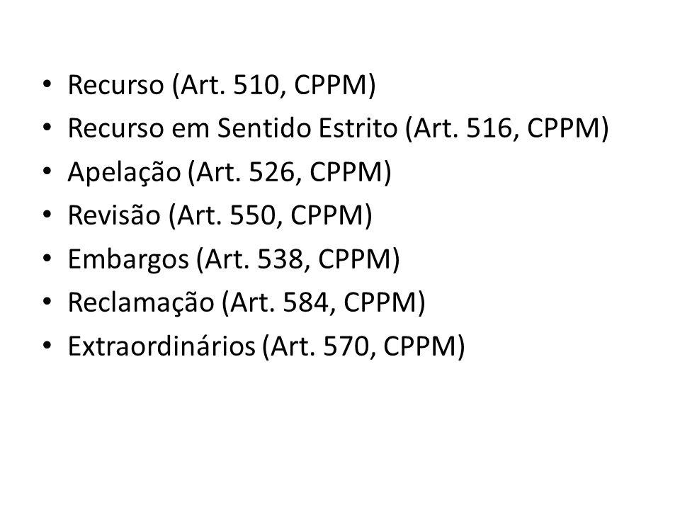 Recurso (Art. 510, CPPM) Recurso em Sentido Estrito (Art. 516, CPPM) Apelação (Art. 526, CPPM) Revisão (Art. 550, CPPM) Embargos (Art. 538, CPPM) Recl