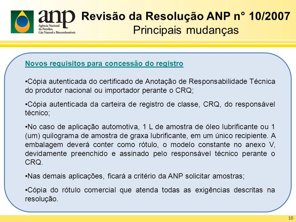 Revisão da Resolução ANP n° 10/2007 Principais mudanças Novos requisitos para concessão do registro Cópia autenticada do certificado de Anotação de Re