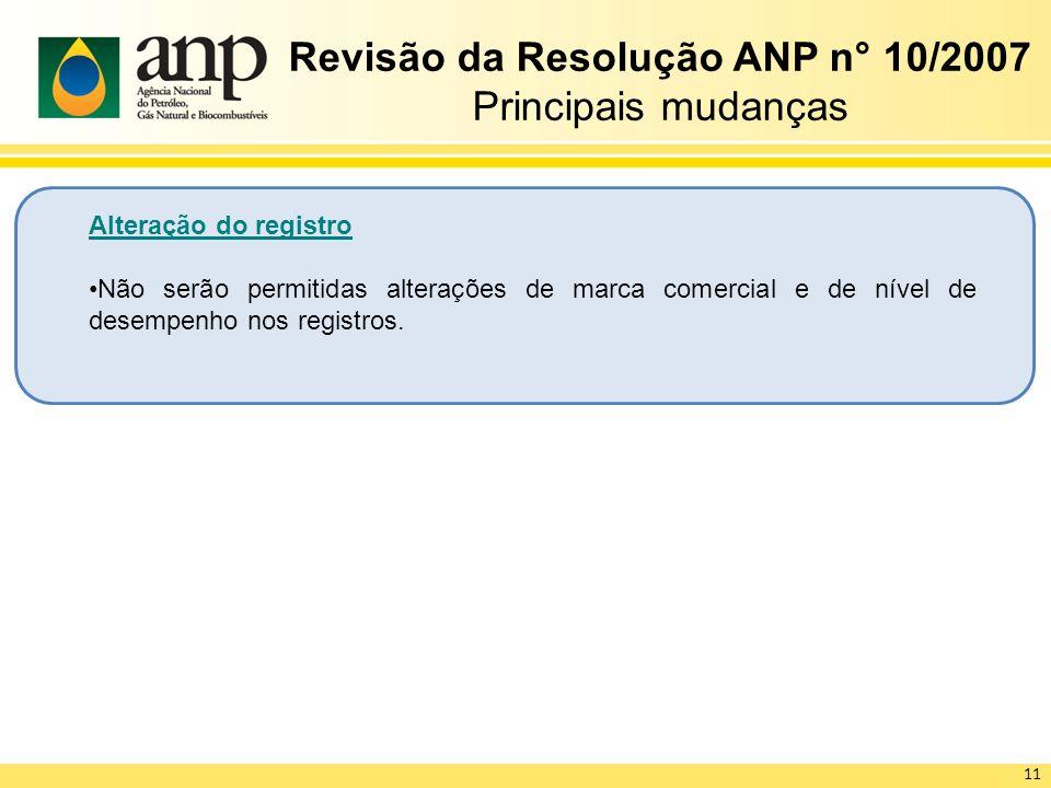 Revisão da Resolução ANP n° 10/2007 Principais mudanças Alteração do registro Não serão permitidas alterações de marca comercial e de nível de desempenho nos registros.