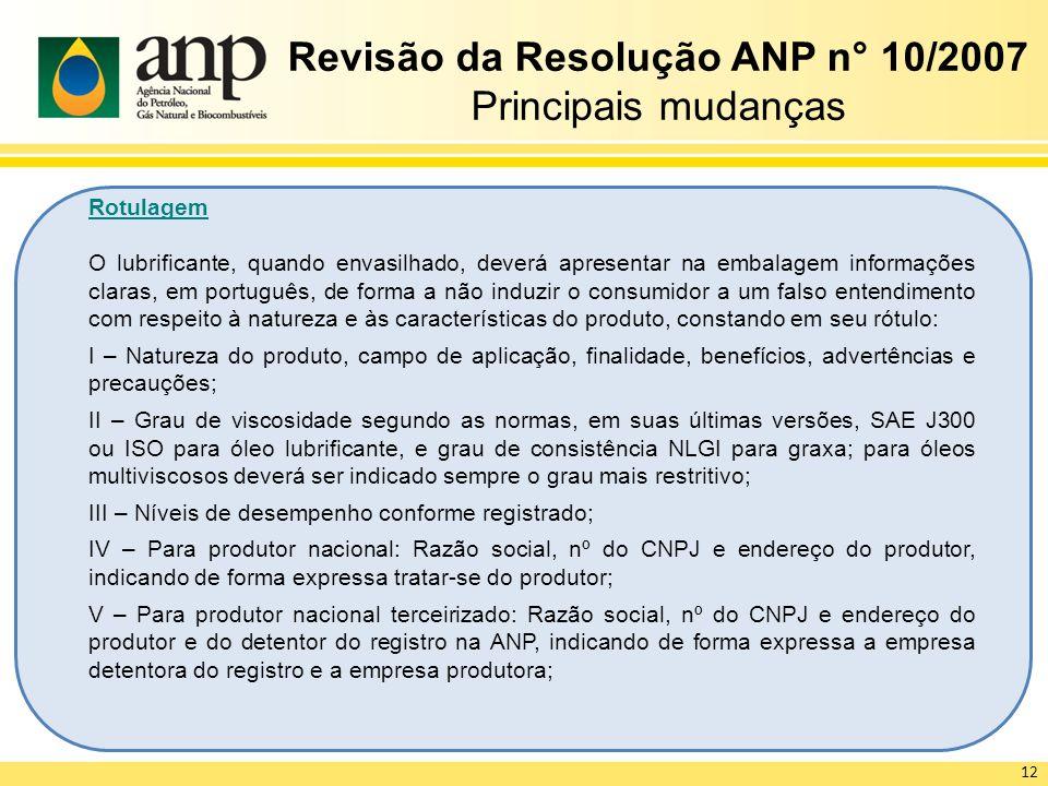 Revisão da Resolução ANP n° 10/2007 Principais mudanças Rotulagem O lubrificante, quando envasilhado, deverá apresentar na embalagem informações clara