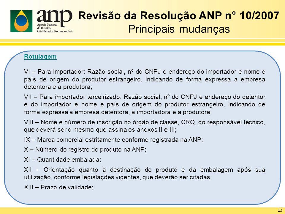 Revisão da Resolução ANP n° 10/2007 Principais mudanças Rotulagem VI – Para importador: Razão social, nº do CNPJ e endereço do importador e nome e paí