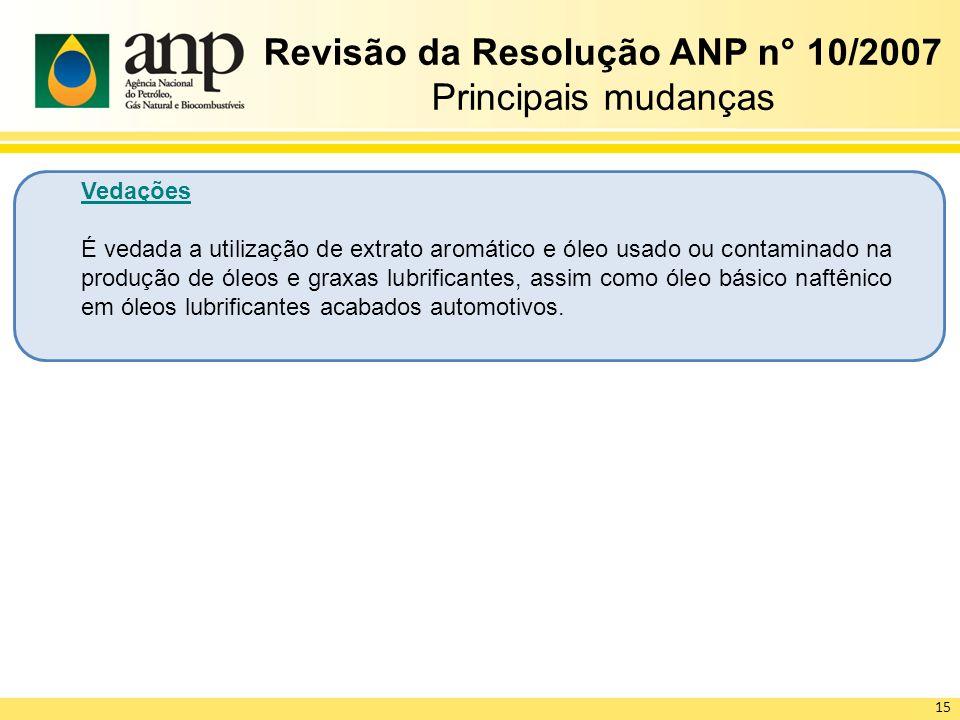 Revisão da Resolução ANP n° 10/2007 Principais mudanças Vedações É vedada a utilização de extrato aromático e óleo usado ou contaminado na produção de
