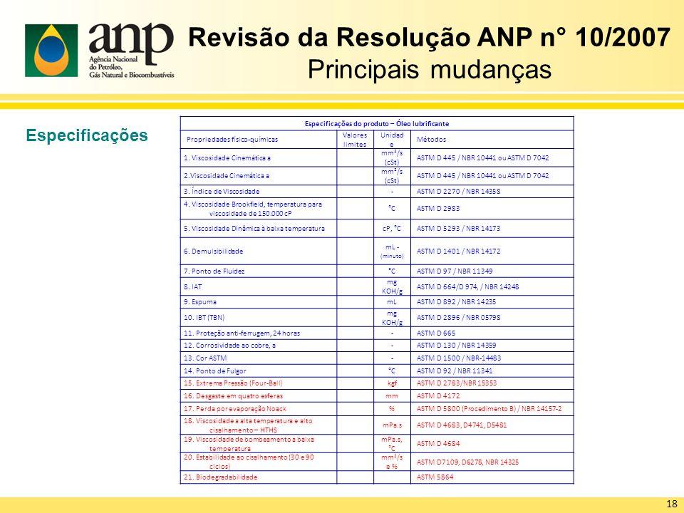 Revisão da Resolução ANP n° 10/2007 Principais mudanças Especificações 18 Especificações do produto – Óleo lubrificante Propriedades físico-químicas Valores limites Unidad e Métodos 1.