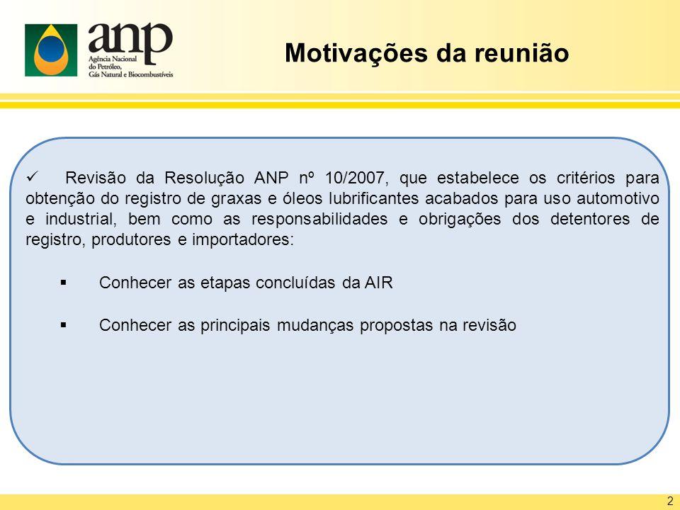 Revisão da Resolução ANP nº 10/2007, que estabelece os critérios para obtenção do registro de graxas e óleos lubrificantes acabados para uso automotiv
