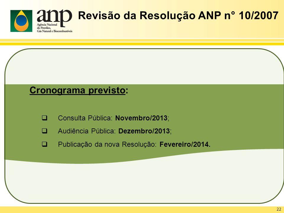 Revisão da Resolução ANP n° 10/2007 Cronograma previsto: Consulta Pública: Novembro/2013; Audiência Pública: Dezembro/2013; Publicação da nova Resoluç