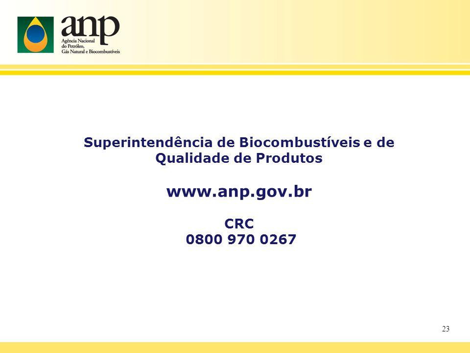 23 Superintendência de Biocombustíveis e de Qualidade de Produtos www.anp.gov.br CRC 0800 970 0267