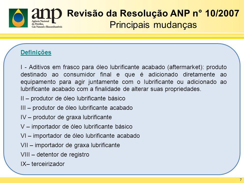 Revisão da Resolução ANP n° 10/2007 Principais mudanças Definições I - Aditivos em frasco para óleo lubrificante acabado (aftermarket): produto destin