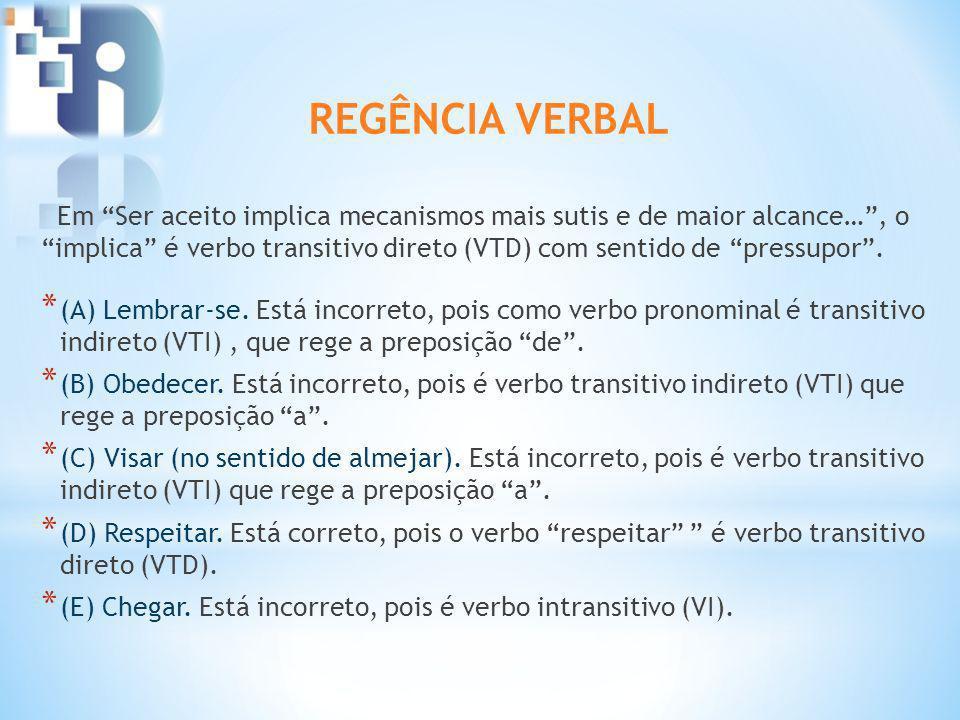 Em Ser aceito implica mecanismos mais sutis e de maior alcance…, o implica é verbo transitivo direto (VTD) com sentido de pressupor. * (A) Lembrar-se.