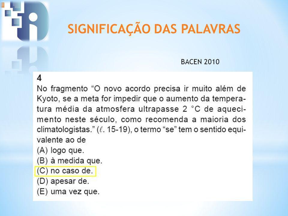 SIGNIFICAÇÃO DAS PALAVRAS BACEN 2010
