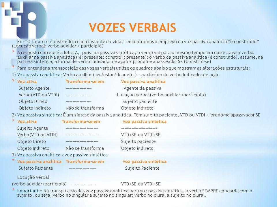 Em O futuro é construído a cada instante da vida, encontramos o emprego da voz passiva analítica é construído (Locução verbal: verbo auxiliar + partic