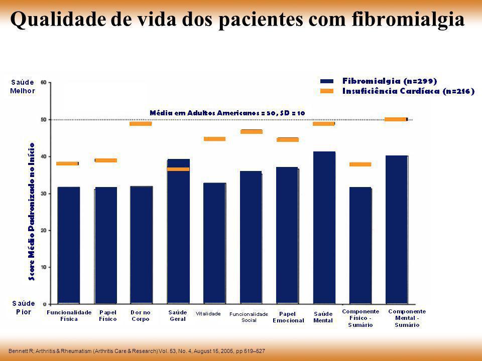 Qualidade de vida dos pacientes com fibromialgia Bennett R; Arthritis & Rheumatism (Arthritis Care & Research) Vol. 53, No. 4, August 15, 2005, pp 519