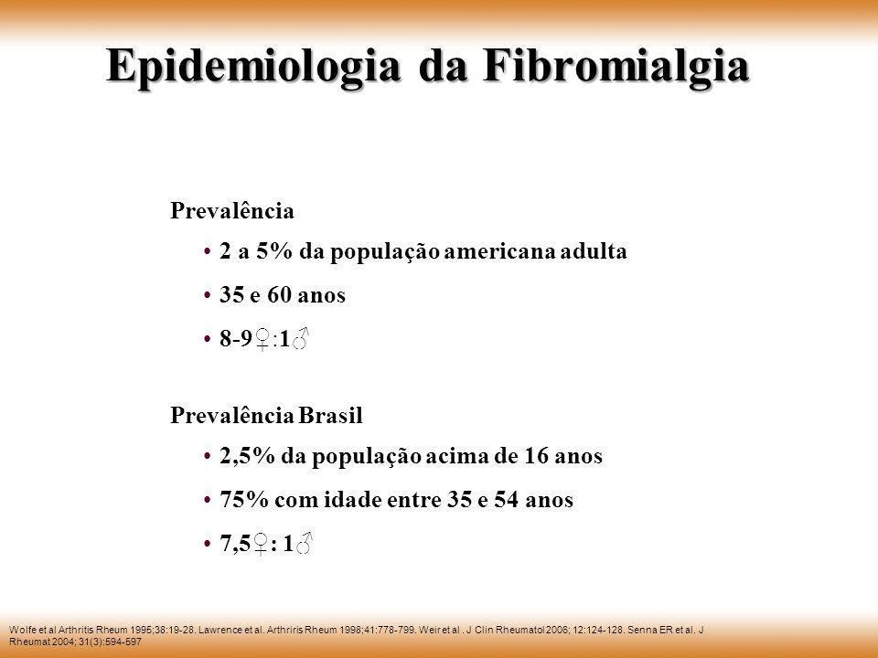 Epidemiologia da Fibromialgia Wolfe et al Arthritis Rheum 1995;38:19-28. Lawrence et al. Arthriris Rheum 1998;41:778-799. Weir et al. J Clin Rheumatol