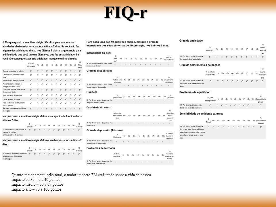 FIQ-r Quanto maior a pontuação total, o maior impacto FM está tendo sobre a vida da pessoa. Impacto baixo – 0 a 49 pontos Impacto médio – 50 a 69 pont