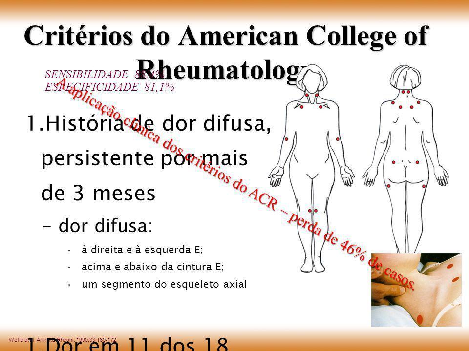 Wolfe et al. Arthritis Rheum. 1990;33:160-172. Critérios do American College of Rheumatology 1.História de dor difusa, persistente por mais de 3 meses