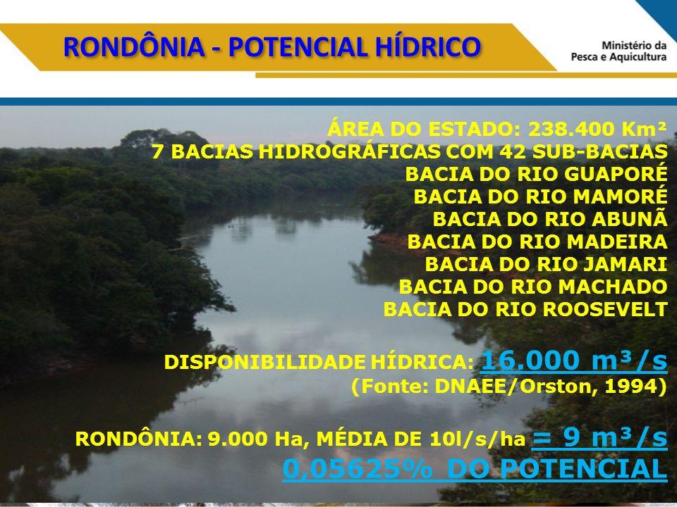 RONDÔNIA - POTENCIAL HÍDRICO ÁREA DO ESTADO: 238.400 Km² 7 BACIAS HIDROGRÁFICAS COM 42 SUB-BACIAS BACIA DO RIO GUAPORÉ BACIA DO RIO MAMORÉ BACIA DO RIO ABUNÃ BACIA DO RIO MADEIRA BACIA DO RIO JAMARI BACIA DO RIO MACHADO BACIA DO RIO ROOSEVELT DISPONIBILIDADE HÍDRICA: 16.000 m³/s (Fonte: DNAEE/Orston, 1994) RONDÔNIA: 9.000 Ha, MÉDIA DE 10l/s/ha = 9 m³/s 0,05625% DO POTENCIAL
