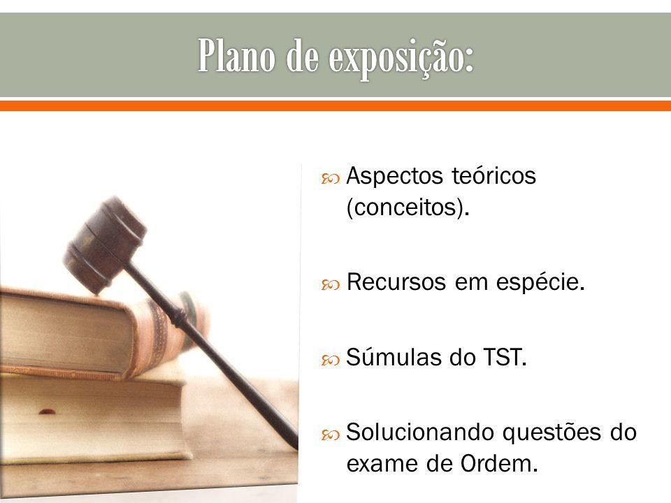 Aspectos teóricos (conceitos). Recursos em espécie. Súmulas do TST. Solucionando questões do exame de Ordem.