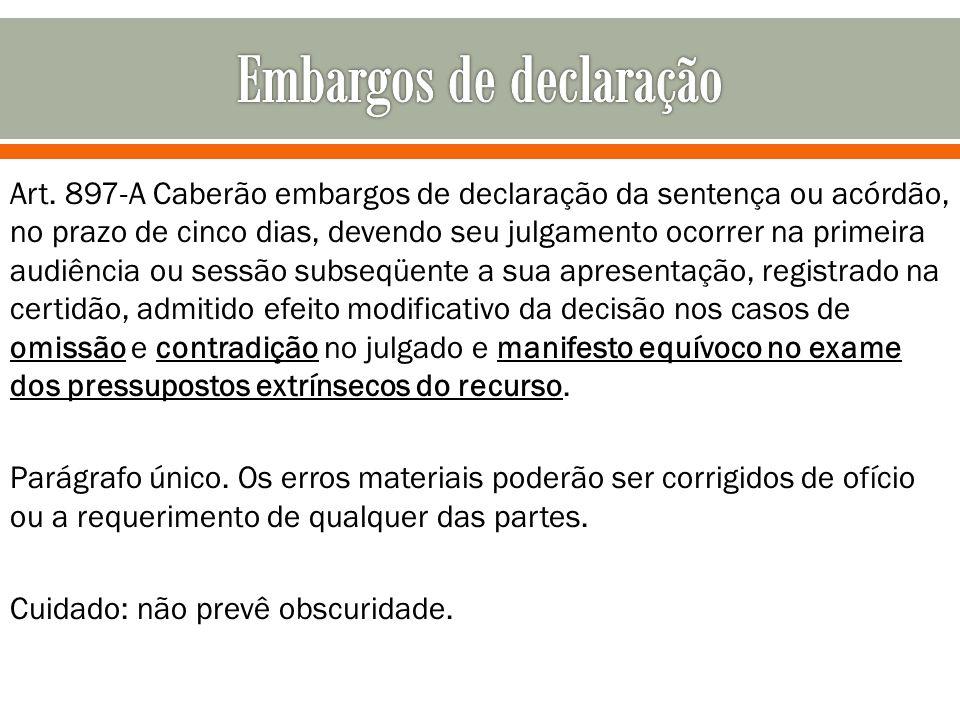 Art. 897-A Caberão embargos de declaração da sentença ou acórdão, no prazo de cinco dias, devendo seu julgamento ocorrer na primeira audiência ou sess