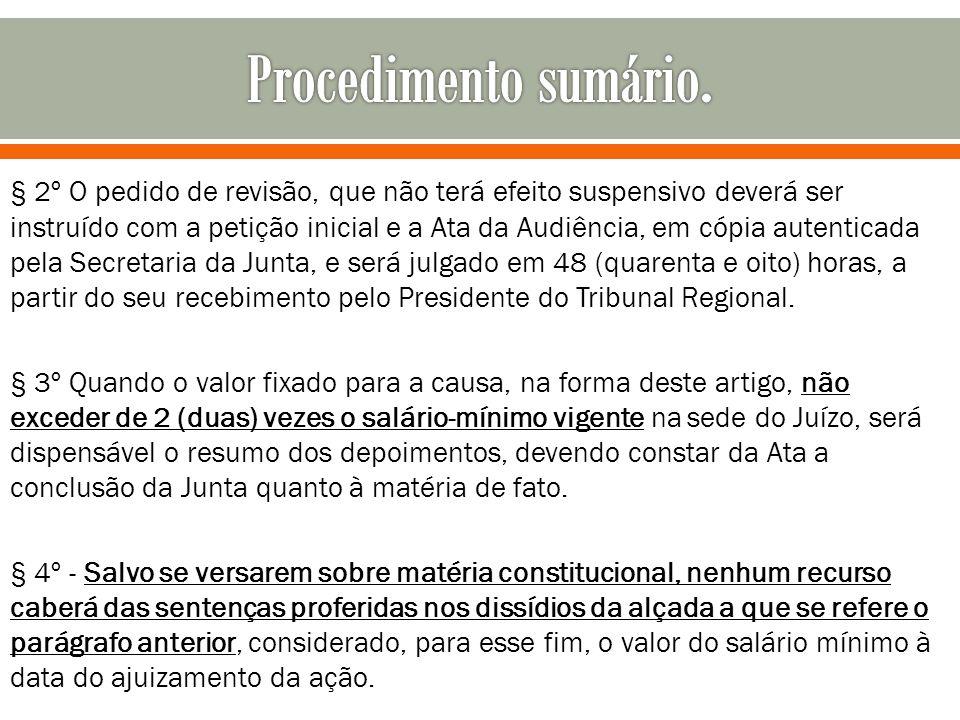 § 2º O pedido de revisão, que não terá efeito suspensivo deverá ser instruído com a petição inicial e a Ata da Audiência, em cópia autenticada pela Se