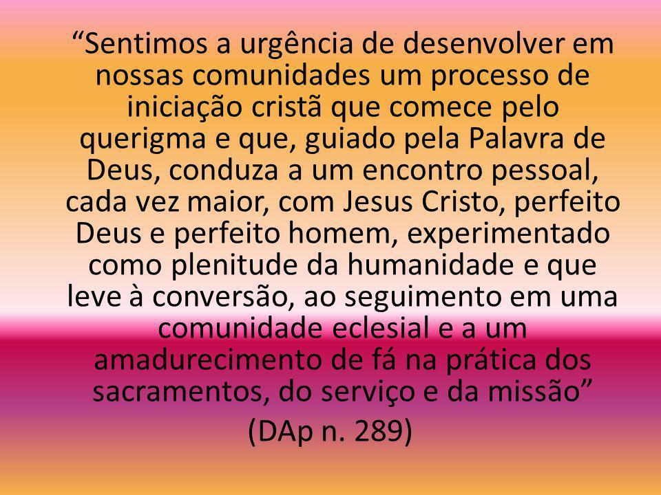 Iniciação à Vida Cristã A iniciação cristã, que inclui o querigma, é a maneira prática de colocar alguém em contato com Jesus Cristo e iniciá-lo no di