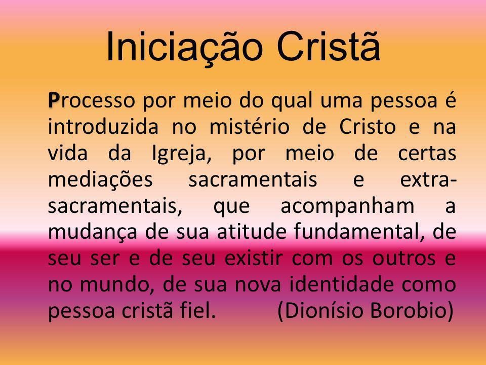 Elementos Específicos da Iniciação Cristã A inserção no mistério pascal (finalidade) Os sacramentos da iniciação (realidades simbólicas) A Igreja é a