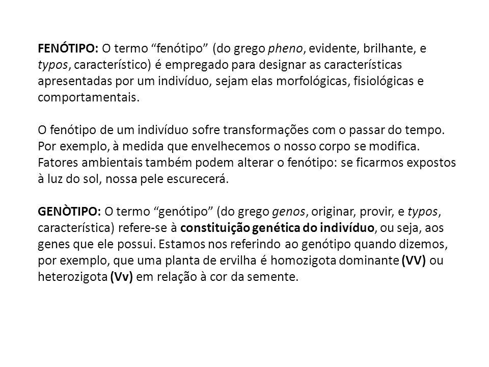 FENÓTIPO: O termo fenótipo (do grego pheno, evidente, brilhante, e typos, característico) é empregado para designar as características apresentadas po