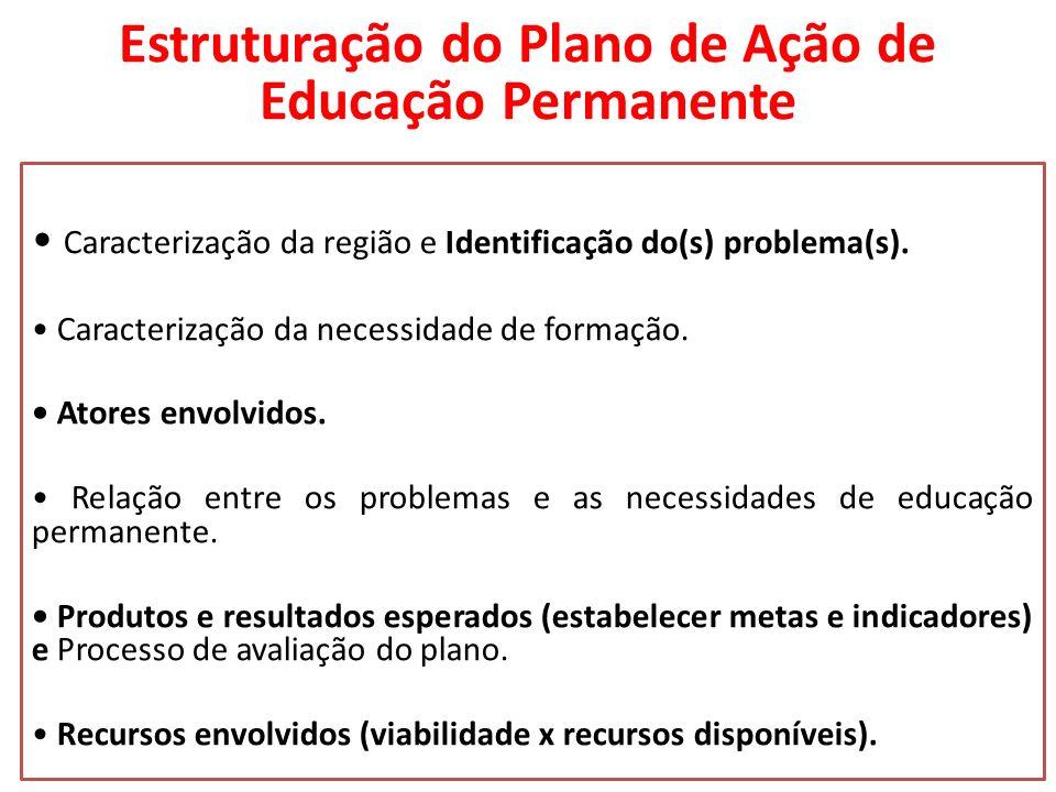 Estruturação do Plano de Ação de Educação Permanente Caracterização da região e Identificação do(s) problema(s). Caracterização da necessidade de form