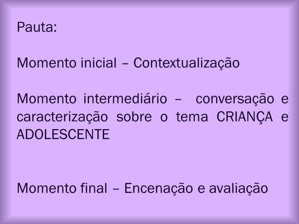 Pauta: Momento inicial – Contextualização Momento intermediário – conversação e caracterização sobre o tema CRIANÇA e ADOLESCENTE Momento final – Ence