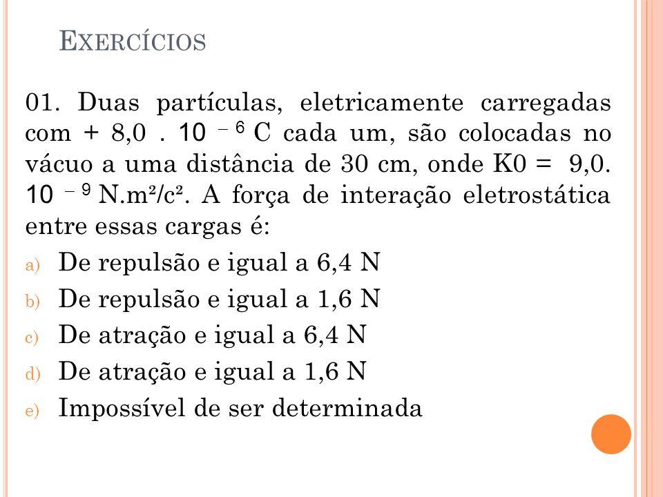 E XERCÍCIOS 01. Duas partículas, eletricamente carregadas com + 8,0. 10 – 6 C cada um, são colocadas no vácuo a uma distância de 30 cm, onde K0 = 9,0.