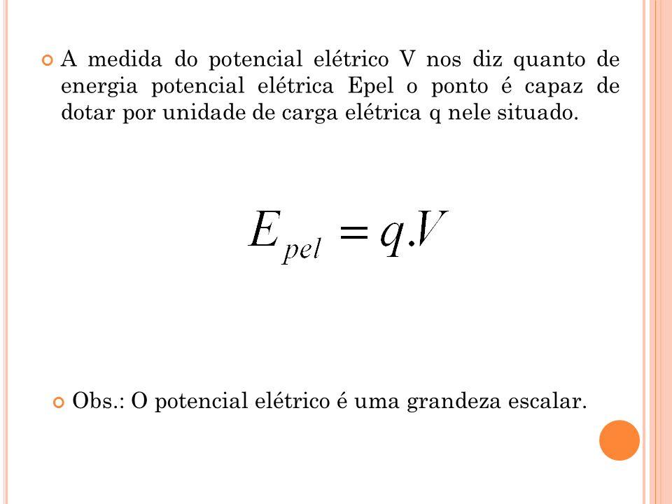 A medida do potencial elétrico V nos diz quanto de energia potencial elétrica Epel o ponto é capaz de dotar por unidade de carga elétrica q nele situa