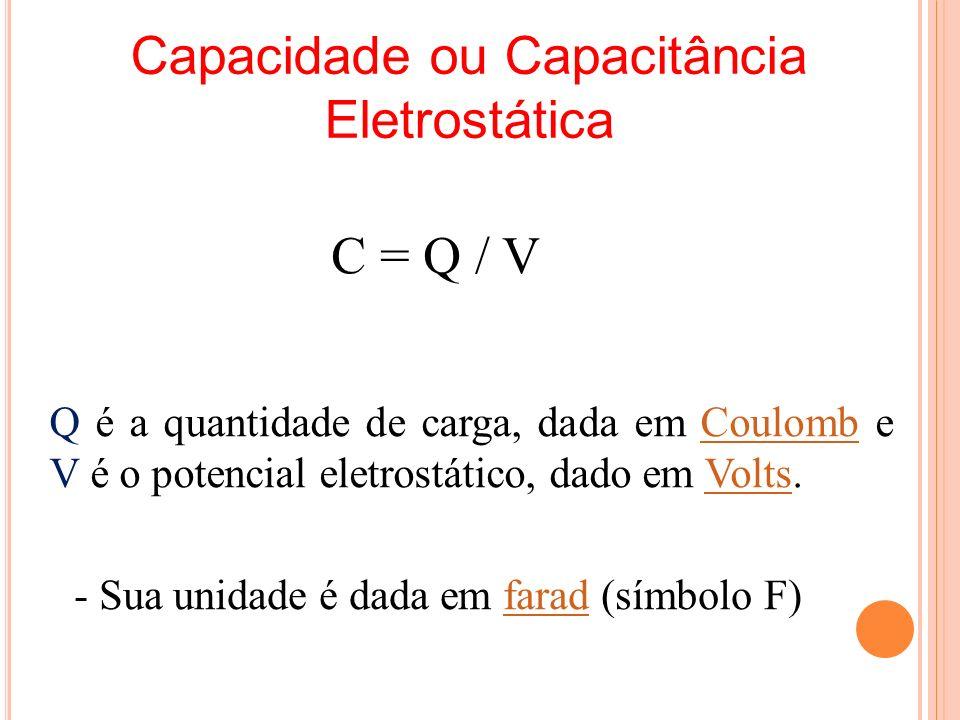 Capacidade ou Capacitância Eletrostática Q é a quantidade de carga, dada em Coulomb e V é o potencial eletrostático, dado em Volts.CoulombVolts C = Q