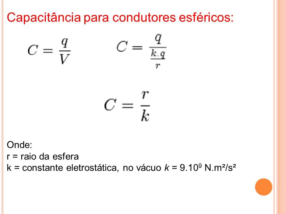 Capacitância para condutores esféricos: Onde: r = raio da esfera k = constante eletrostática, no vácuo k = 9.10 9 N.m²/s²
