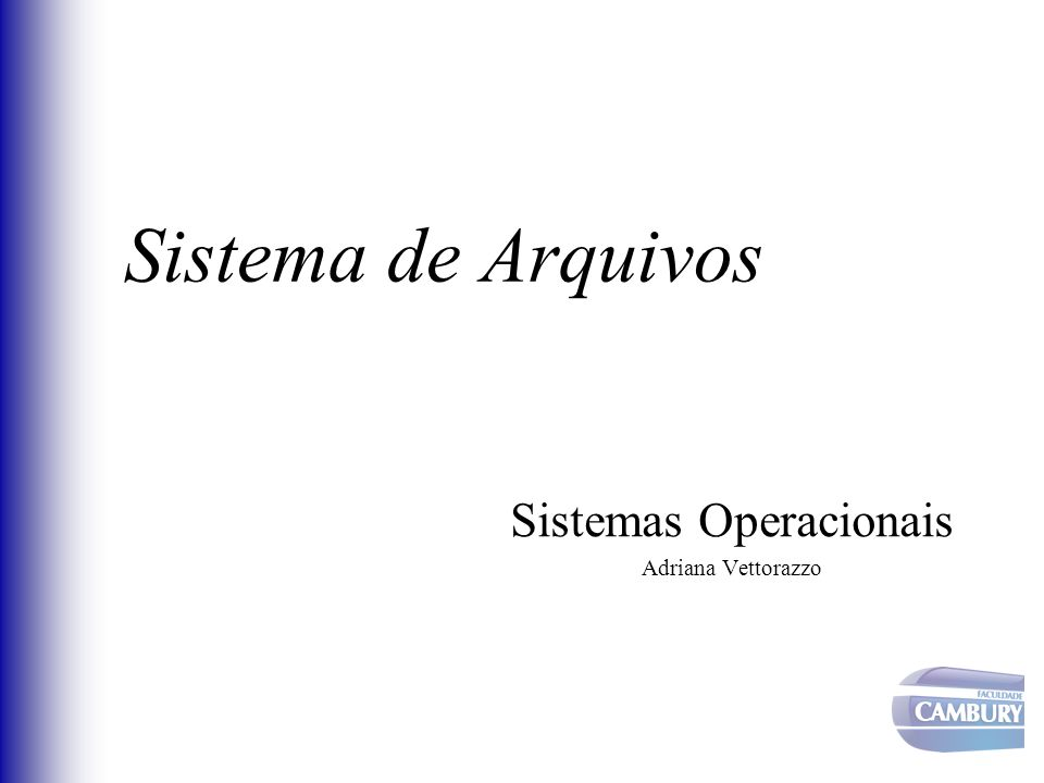 Sistema de Arquivos Sistemas Operacionais Adriana Vettorazzo