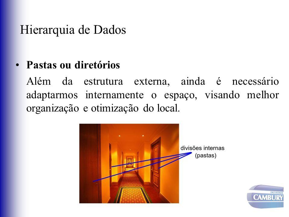 Pastas ou diretórios Além da estrutura externa, ainda é necessário adaptarmos internamente o espaço, visando melhor organização e otimização do local.