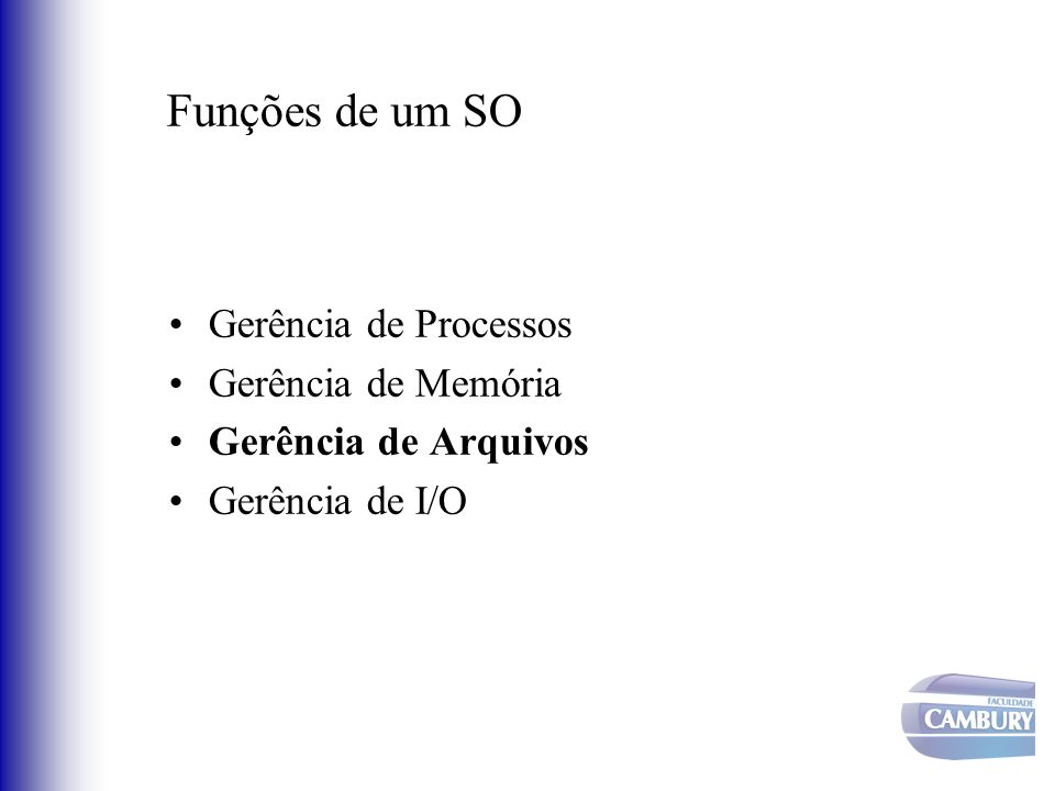Funções de um SO Gerência de Processos Gerência de Memória Gerência de Arquivos Gerência de I/O