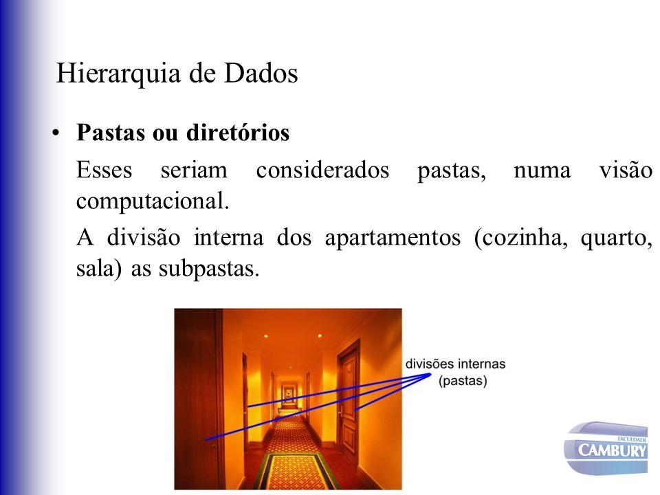 Hierarquia de Dados Pastas ou diretórios Esses seriam considerados pastas, numa visão computacional. A divisão interna dos apartamentos (cozinha, quar