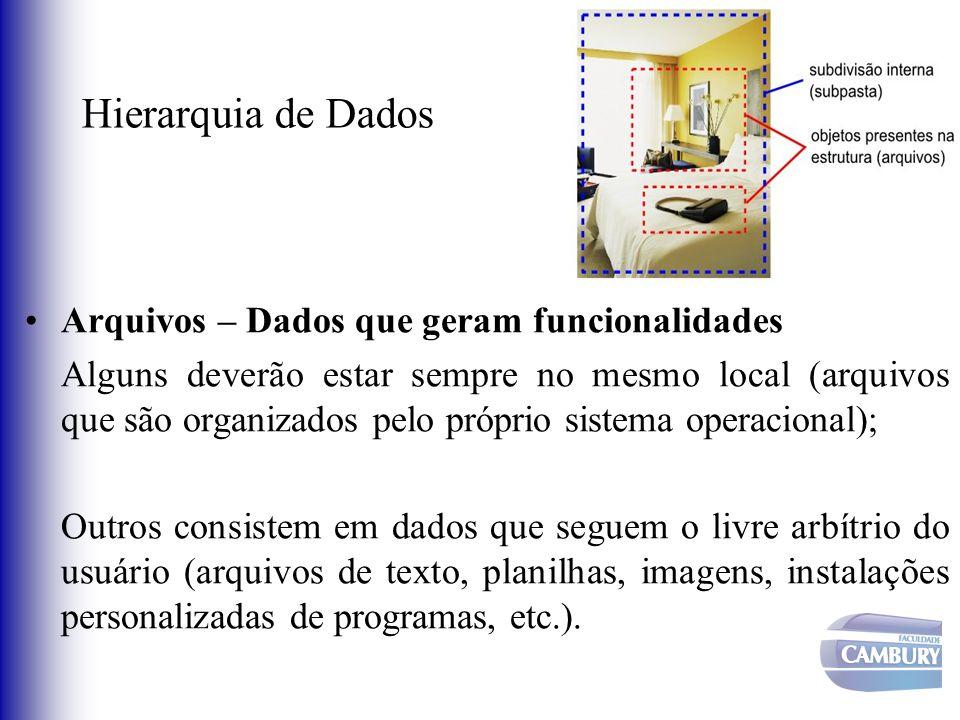 Hierarquia de Dados Arquivos – Dados que geram funcionalidades Alguns deverão estar sempre no mesmo local (arquivos que são organizados pelo próprio s
