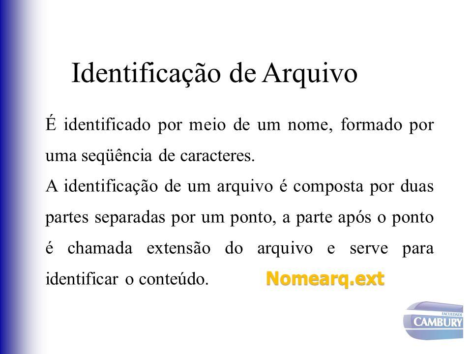 É identificado por meio de um nome, formado por uma seqüência de caracteres. Nomearq.ext A identificação de um arquivo é composta por duas partes sepa