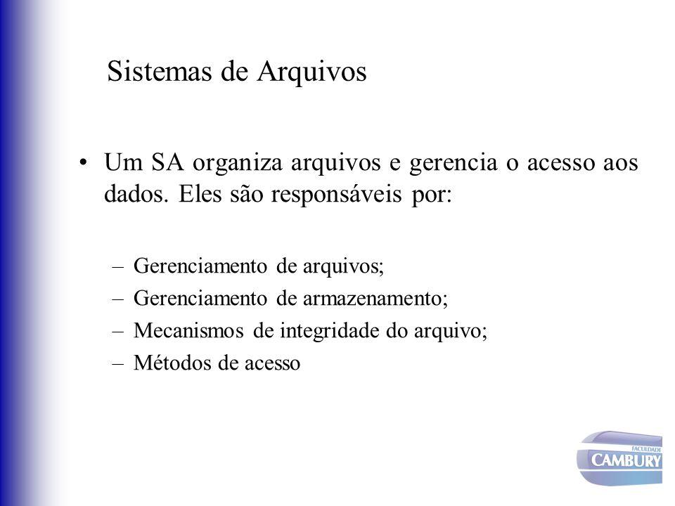 Sistemas de Arquivos Um SA organiza arquivos e gerencia o acesso aos dados. Eles são responsáveis por: –Gerenciamento de arquivos; –Gerenciamento de a