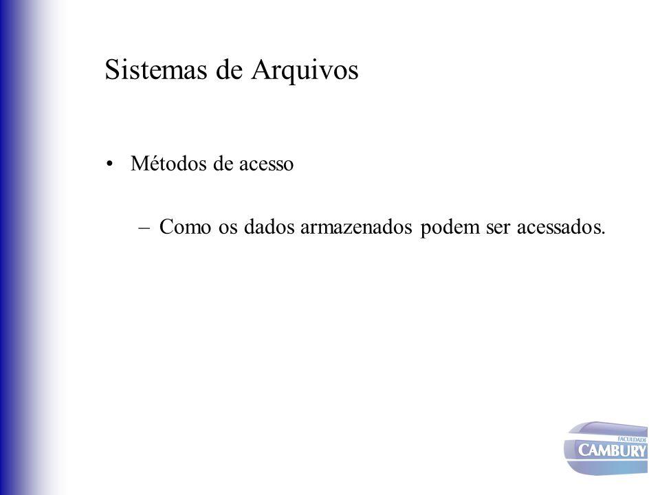 Sistemas de Arquivos Métodos de acesso –Como os dados armazenados podem ser acessados.