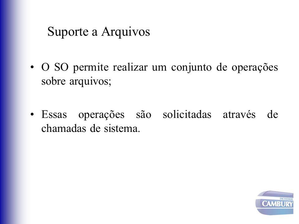 O SO permite realizar um conjunto de operações sobre arquivos; Essas operações são solicitadas através de chamadas de sistema.