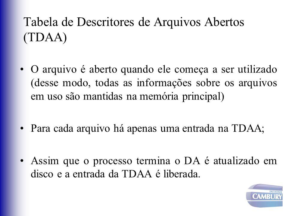 Tabela de Descritores de Arquivos Abertos (TDAA) O arquivo é aberto quando ele começa a ser utilizado (desse modo, todas as informações sobre os arqui